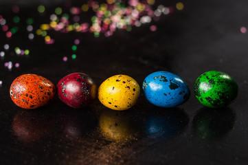 colorful quail easter eggs