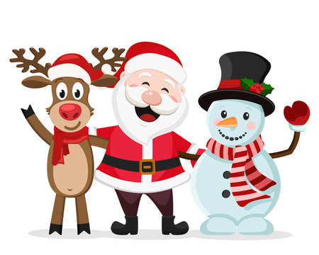 Santa Claus, snowman and deer stand in an embrace and smile on a white background.