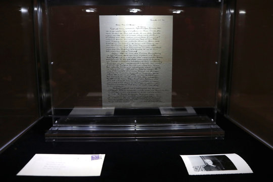"""A letter known as """"The God Letter""""  written by Albert Einstein and addressed to philosopher Eric Gutkind from 1954 is seen on display at Christie's auction house ahead of it's sale in New York"""