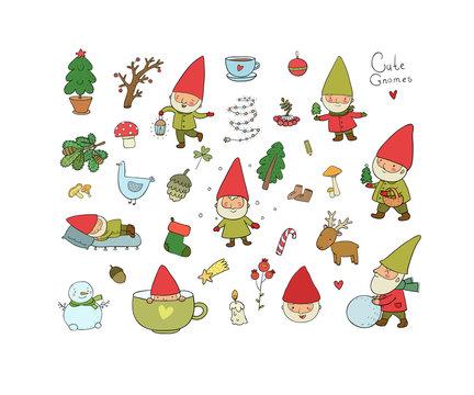 Cute cartoon gnomes. New Year set. Christmas funny elves. Vector illustration.