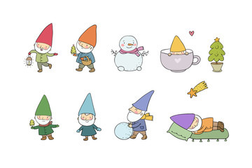Cute cartoon gnomes. New Year set. Christmas elves. Vector illustration.
