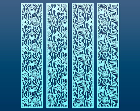 Laser cut panel templates set with pattern of seashells and stars. Decorative element for interior design in marine style, cutout paper decorative borders. Set of bookmarks templates, vector.