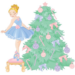 Little Ballerina and Christmas tree