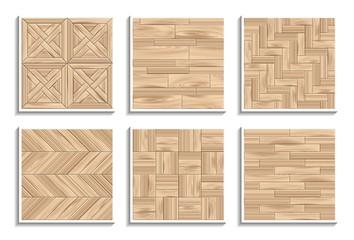 Obraz Set of seamless parquet textures. 3D patterns of wood materials - fototapety do salonu