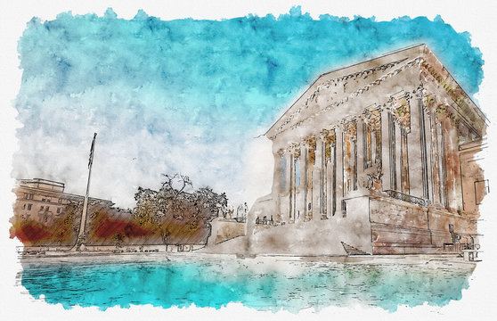 The Supreme Court of the United States in Washington DC watercolor painting