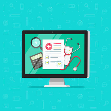 Medical online research report on computer vector, flat cartoon health or medical record paper or insurance document on pc, concept of digital medicine check list, approved good test internet analyze
