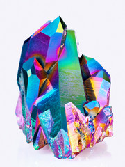 An extreme sharp image of the Titanium rainbow aura quartz crystal cluster stone taken with the macro lens. The image is stacked from more photos into one very sharp image.