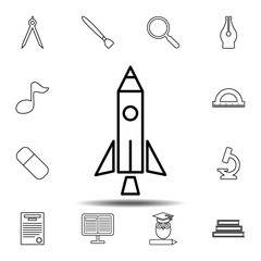 Rocket icon. Simple outline vector element of education set icons for UI and UX, website or mobile application