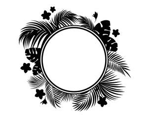Tropical leaves and flowers black silhouette. Circle frame
