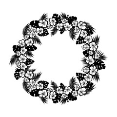 Tropical flowers and palm leaves. Frame circle