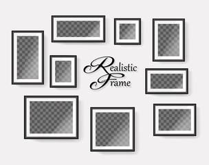 Set of realistic black blank picture frames