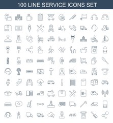 service icons. Set of 100 line service icons included share, comb, money in atm, truck with luggage on white background. Editable service icons for web, mobile and infographics.