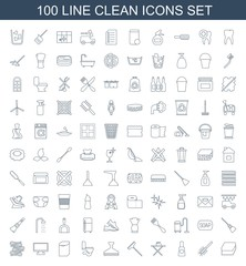 clean icons. Set of 100 line clean icons included sponge, toilet brush, cream tube, ironing table on white background. Editable clean icons for web, mobile and infographics.