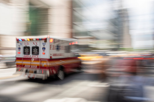 FDNY ambulance racing through new york city