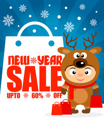 New Year sale background upto 60 % off with child in costume deer