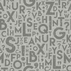 Seamless Vector Textured Alphabet English Language Letters Repeat Pattern in Light & Dark warm gray