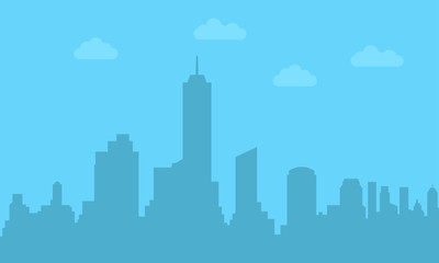 City silhouette. City skyline with buildings and skyscrapers. Vector illustration.