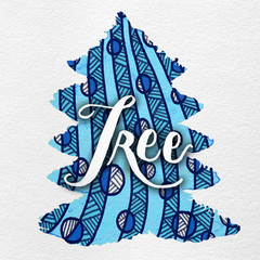 Gouache Painted Holiday Christmas Tree Illustration with Line Art and Hand Lettering: Blue & White.