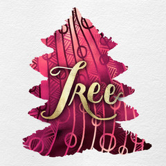 Gouache Painted Holiday Christmas Tree Illustration: Line Art and Hand Lettering in Gold & Pink Metallic