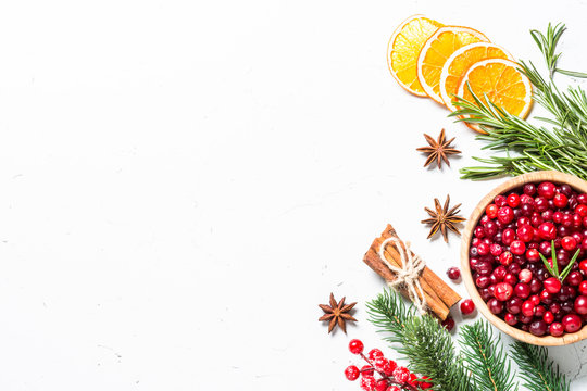 Ingredients for cooking - cranberry, rosemary, orange and  anise