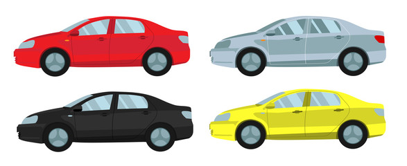 Passenger car gray, red, yellow, black. Flat. Vector.