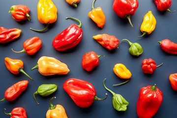 Composition of bright colorful peppers on black background.