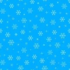 Blue snowflakesl Christmas seamless pattern