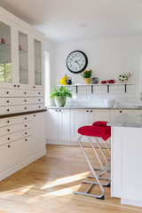 Contemporary Kitchen with Red Barstools