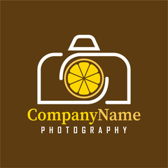 Vector Camera Lemon logo design template for your company.