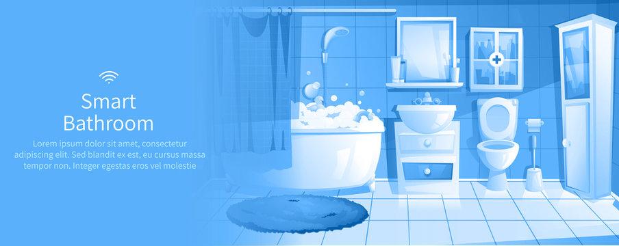 Smart bathroom design banner. Interior home IOT ads.