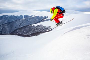 Fototapete -  Good skiing in winter day.