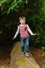 Adventuresome Boy Walking on Log and Balancing
