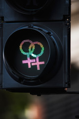 Traffic lights with female gender symbols