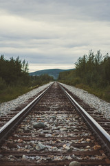 Weathered Railroad Tracks in Remote Alaska