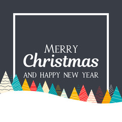 Merry Christmas and Happy New Year greeting card with Christmas trees.