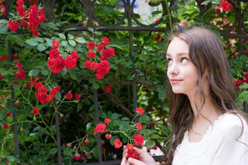 Brunette model in garden