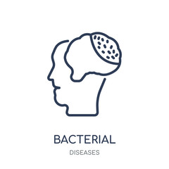 Bacterial meningitis icon. Bacterial meningitis linear symbol design from Diseases collection.