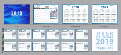 Desk calendar 2019 template, Set of 12 Months, Calendar 2019