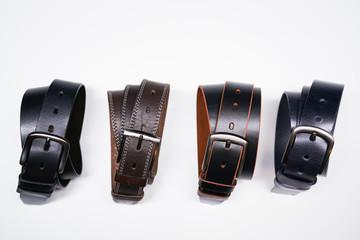 brown and black belts / men's leather belts