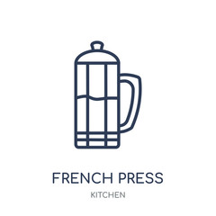 French press icon. French press linear symbol design from Kitchen collection.