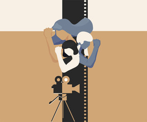 Girl power vector feminist illustration: Women in cinematography concept. Cinema film women retro poster. Girl power cinema.