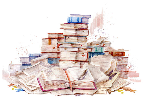 Old book, watercolor illustration. Ancient folios. Manuscripts and scrolls. Open book. Handmade watercolors.