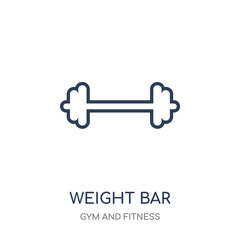 Weight bar icon. Weight bar linear symbol design from Gym and Fitness collection.