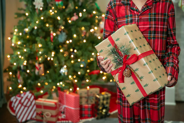 Child Girl Boy Standing Inside In Front of the Christmas Tree Holding a Wrapped Present