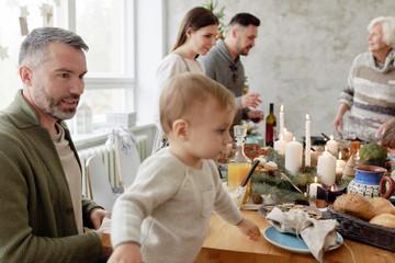 Christmas dinner in family circle