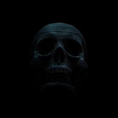 Black skull dimly lit against a black background