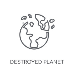 Destroyed planet linear icon. Modern outline Destroyed planet logo concept on white background from ASTRONOMY collection