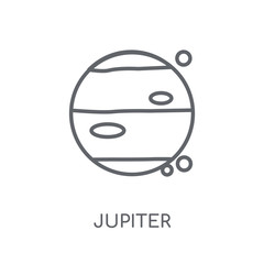 Jupiter linear icon. Modern outline Jupiter logo concept on white background from ASTRONOMY collection