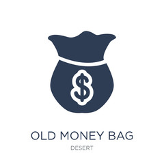 Old Money Bag icon. Trendy flat vector Old Money Bag icon on white background from Desert collection