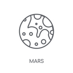 Mars linear icon. Modern outline Mars logo concept on white background from ASTRONOMY collection
